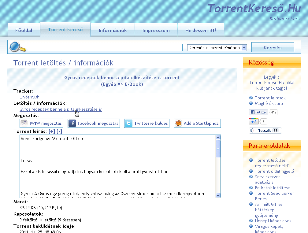 Torrent adatlap